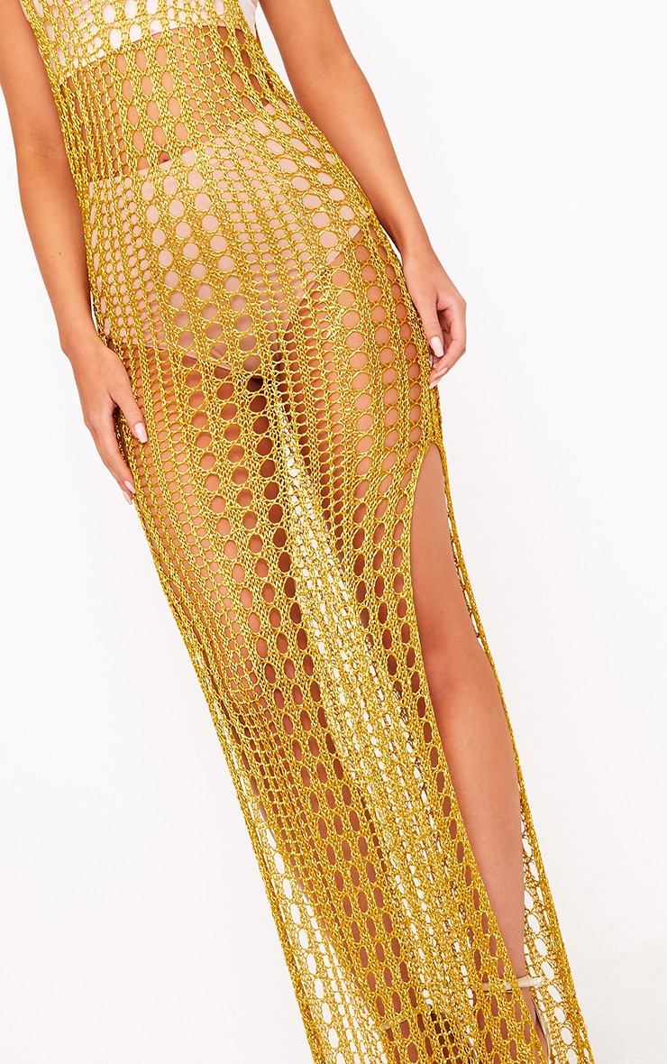 Elissa Gold Metallic Open Knit Maxi Dress 5