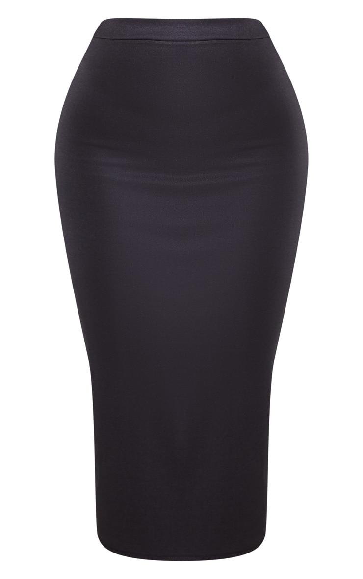 Black High Stretch Midi Skirt 3