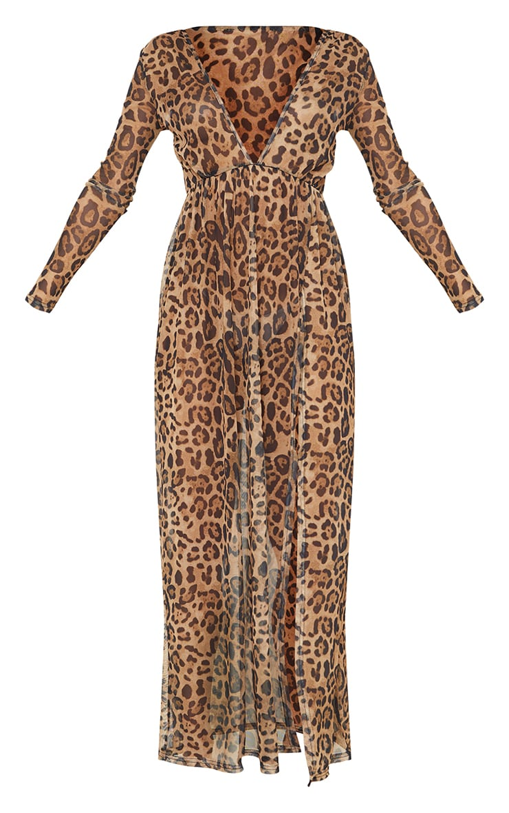 Brown Leopard Print Sheer Mesh Plunge Long Sleeve Split Maxi Dress 5