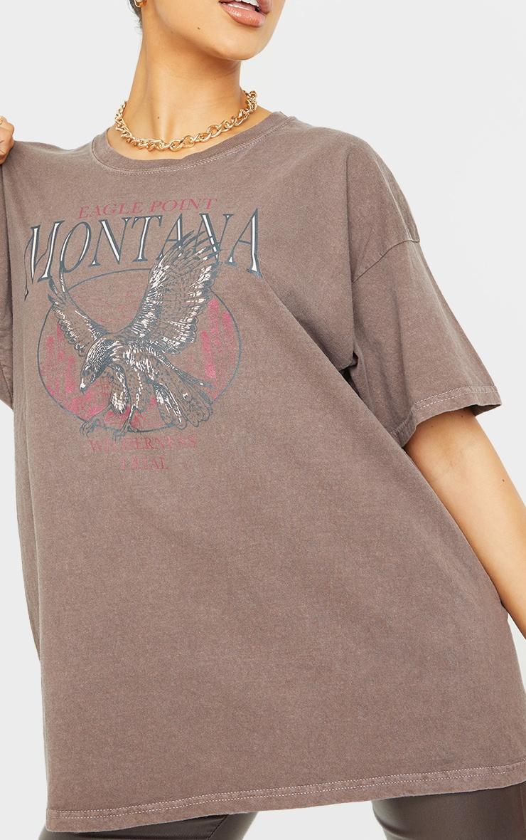 T-shirt oversize chocolat à slogan Montana 4