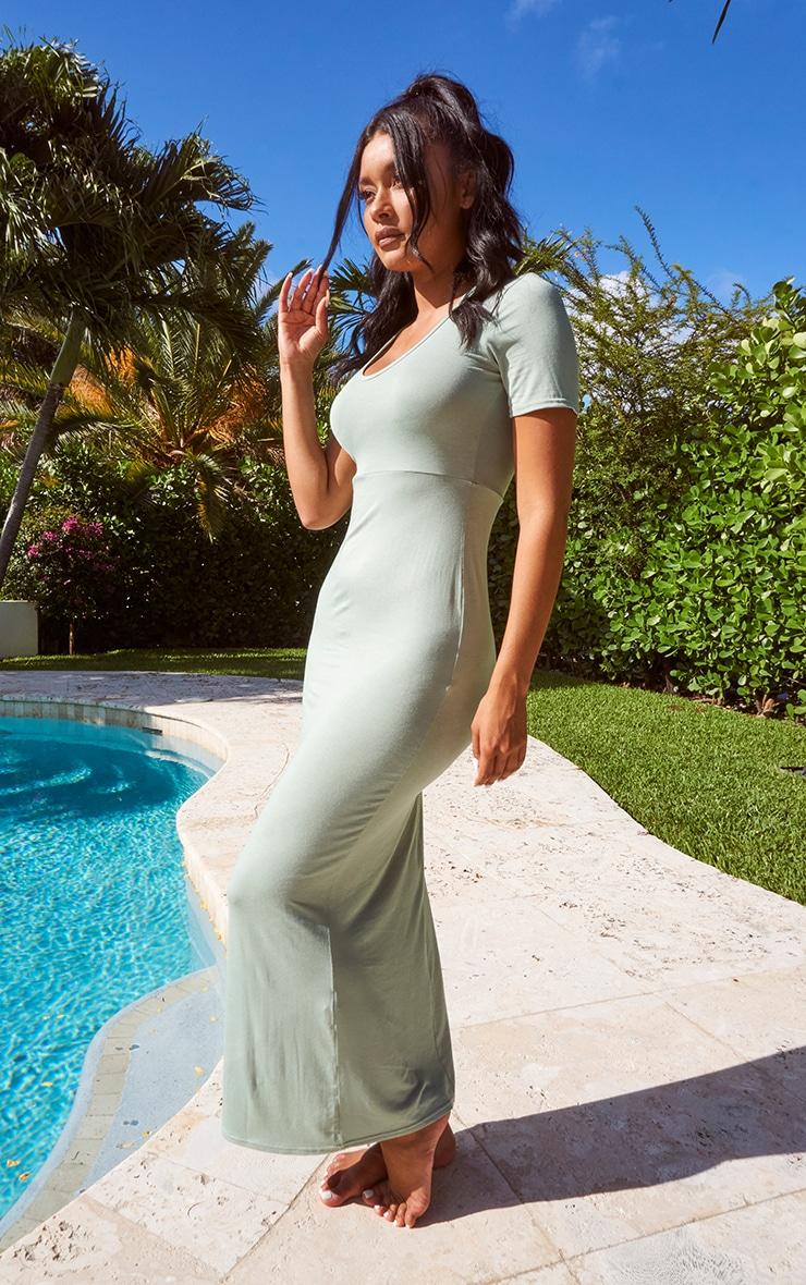 Sage Green Jersey V Neck Short Sleeve Maxi Dress 1