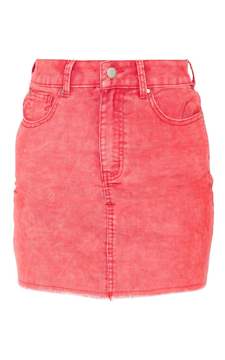 Washed Red Cord Denim Mini Skirt  3