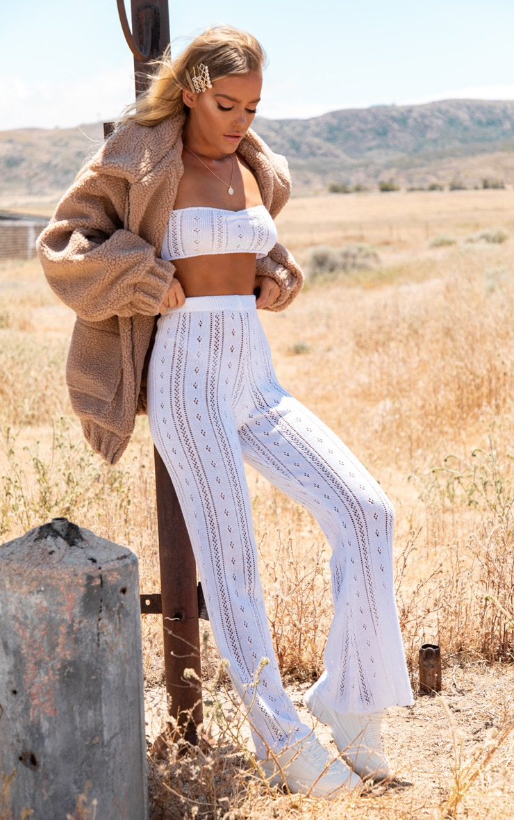 Cream Open Knitted Flares 1