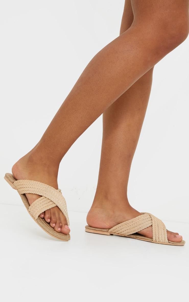 Nude Rope Cross Strap Mule Sandal 1