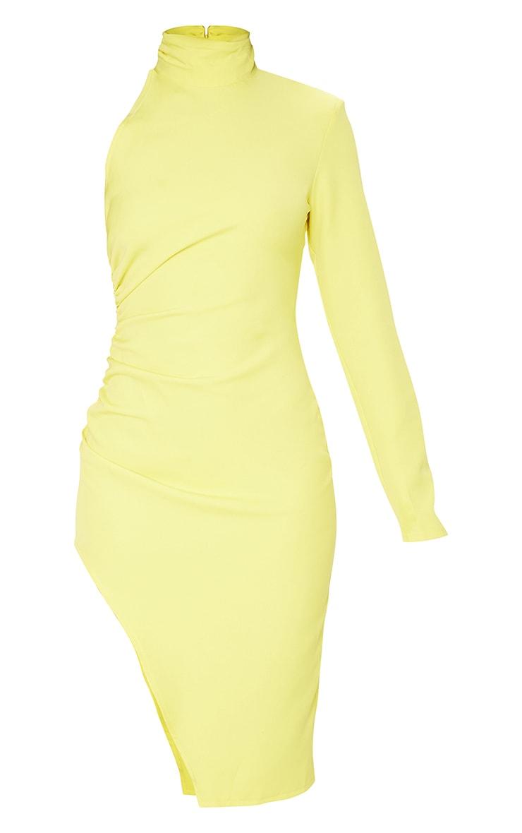 Yellow One Shoulder Long Sleeve High Neck Midi Dress 5