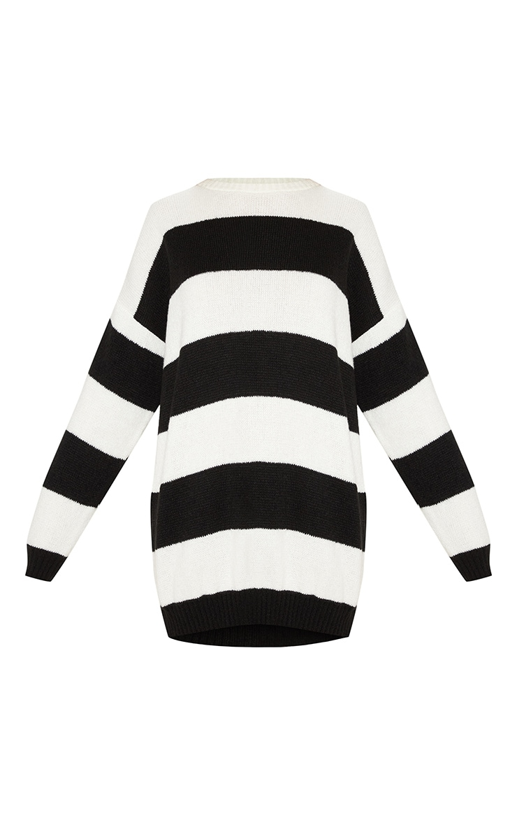 Monochrome Striped Oversized Jumper Dress 3