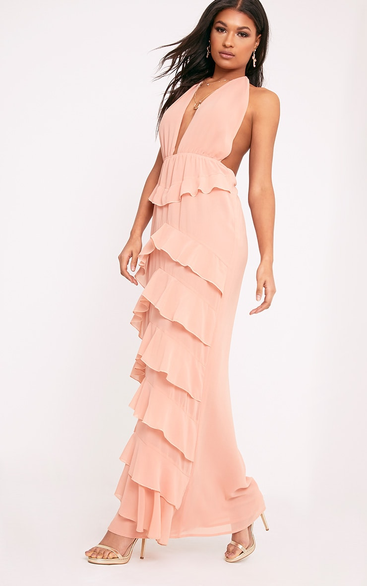 Jayden Blush Chiffon Frill Detail Maxi Dress  1