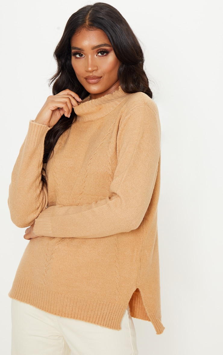 Camel High Neck Fluffy Knit Twist Detail Sweater 1