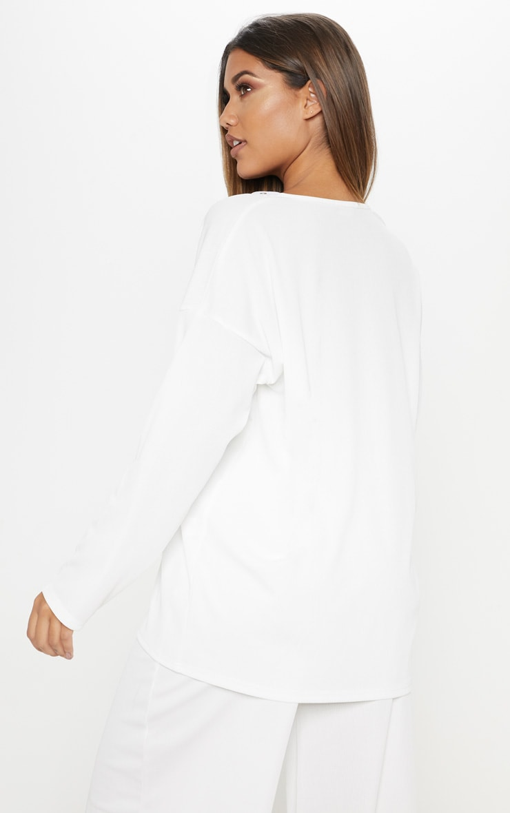 White Lace Up Oversized Rib Top 2