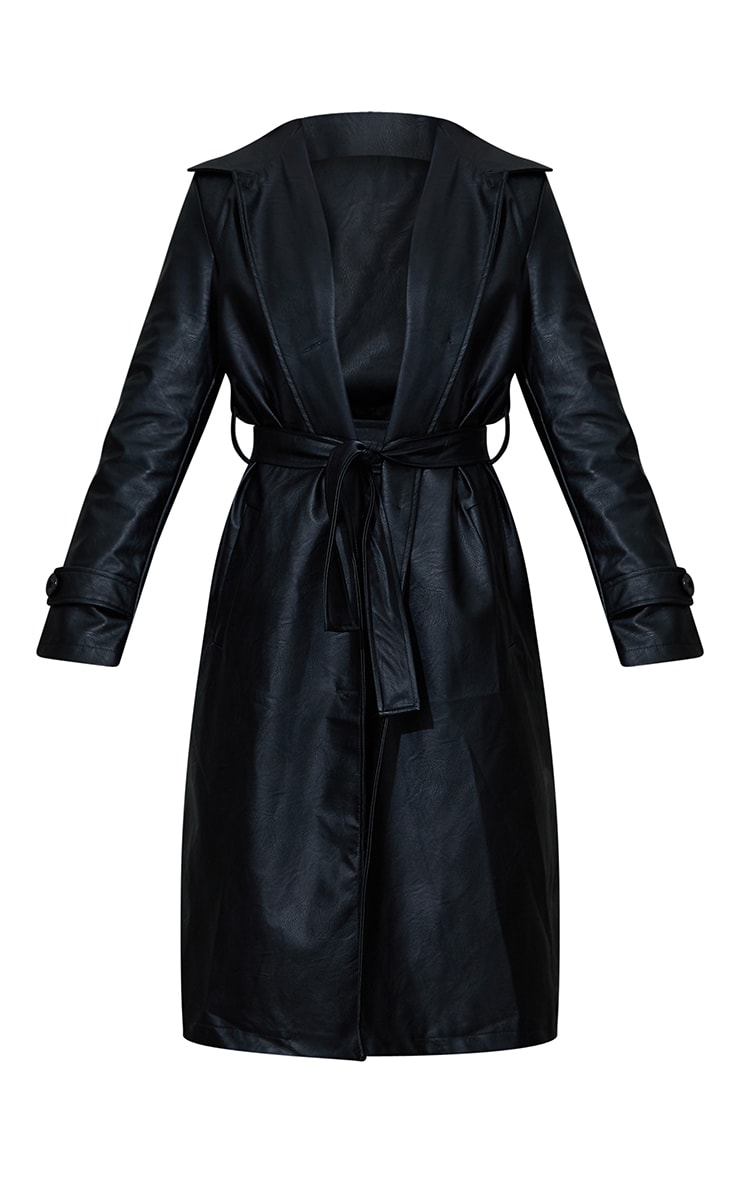 Black Faux Leather Belted Trench 5