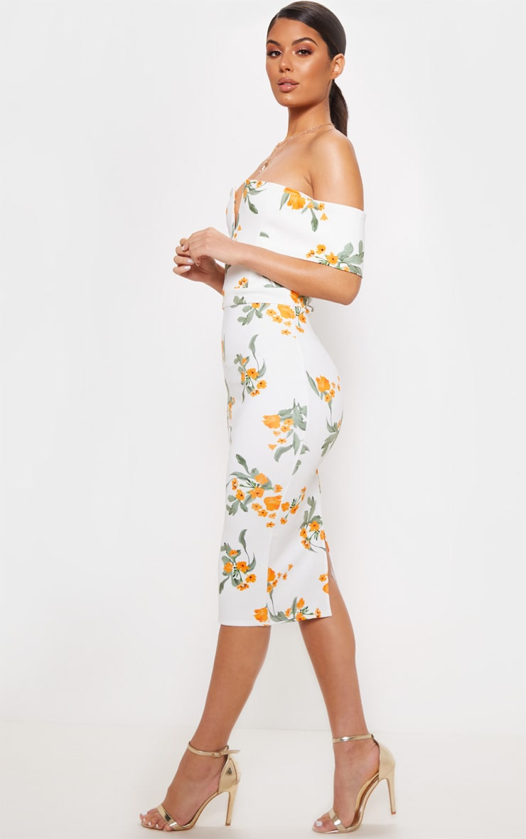 White Printed Plunge Bardot Midi Dress 4