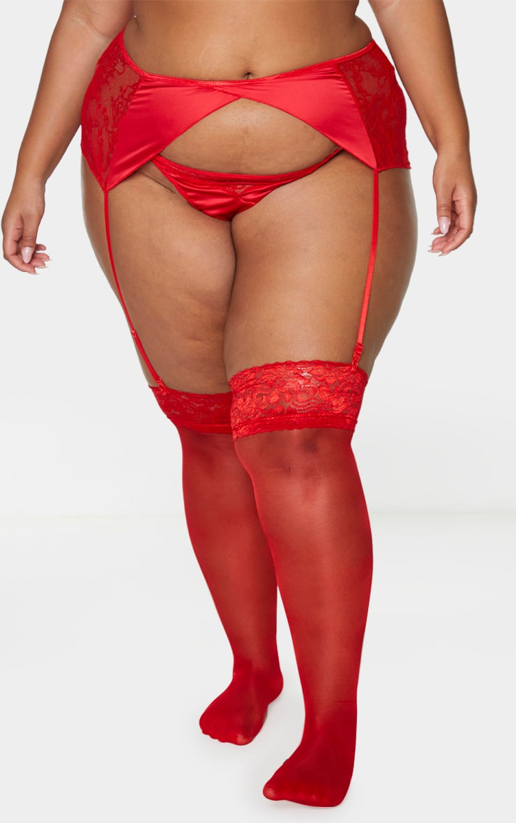 Plus Red Floral Lace And Satin Suspender Belt 2
