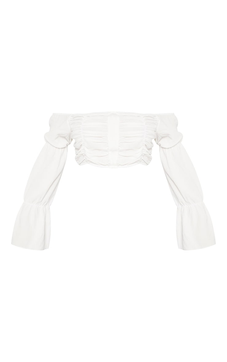 White Crepe Shirring Detail Long Sleeve Crop Top 4