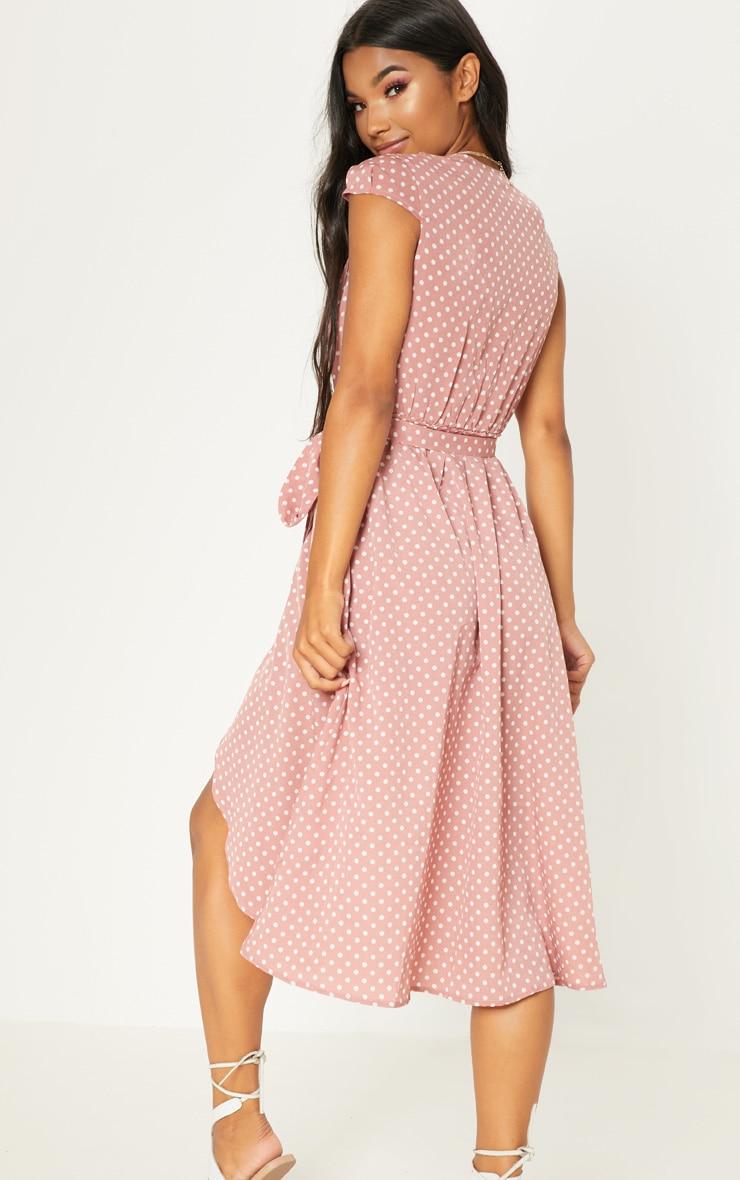 Pink Polka Dot Cap Sleeve Midi Skater Dress 2