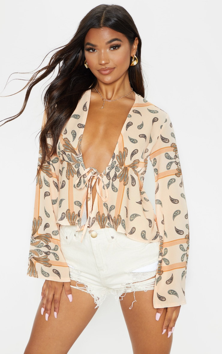 Beige Paisley Printed Chiffon Plunge Tie Front Blouse 1