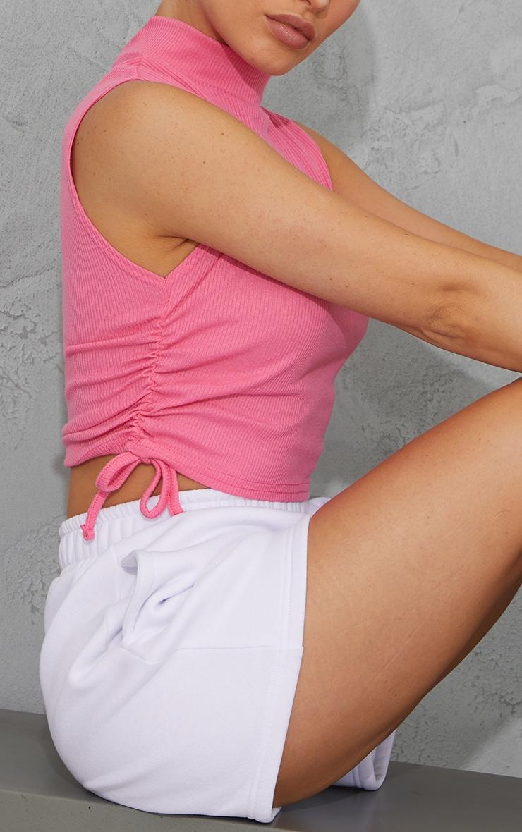 Pink Rib High Neck Sleeveless Drawstring Side Crop Top 4