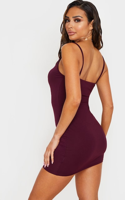 Plum Basic Extreme Plunge Strappy Bodycon Dress