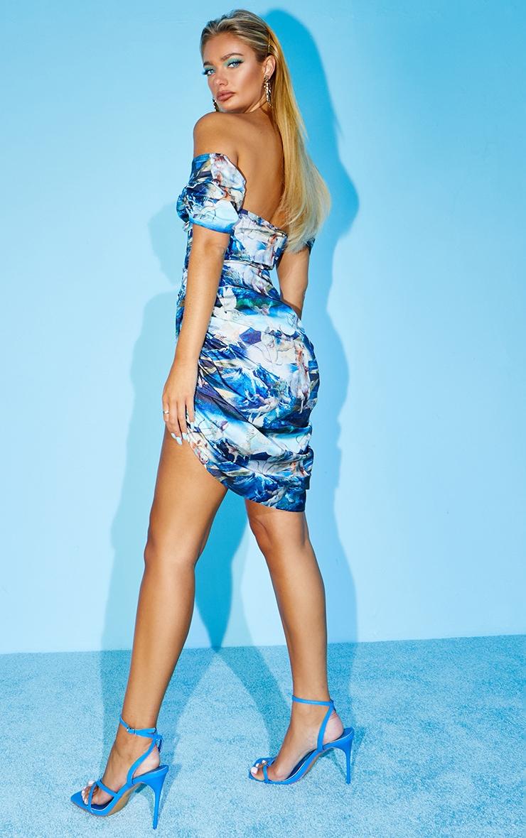 Blue Renaissance Print Satin Bardot Ruched Bodycon Dress 2