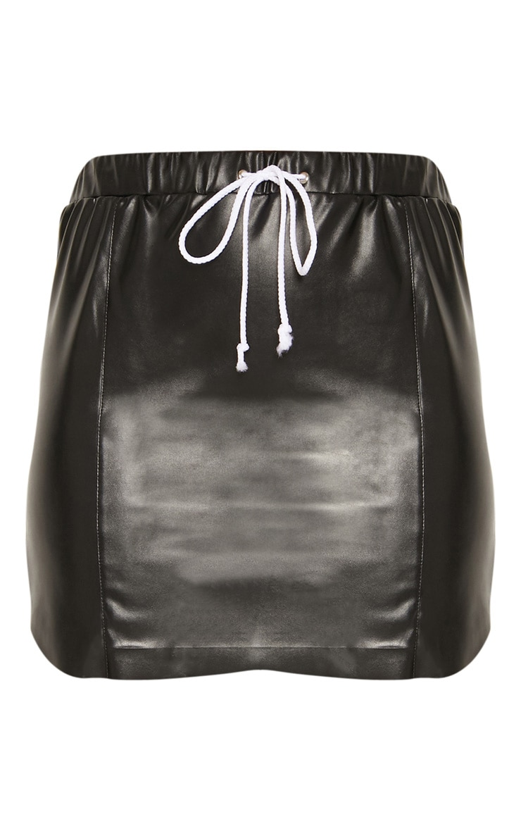 Black Faux Leather Drawstring Waist Mini Skirt 3