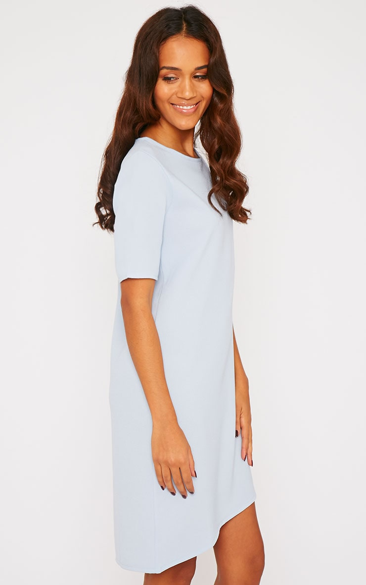 Chante Powder Blue Crepe Loose Fit Shift Step Hem Dress 4