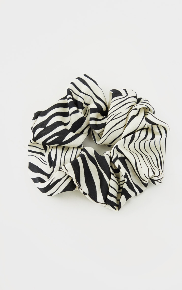 Black Zebra Satin Scrunchie 1