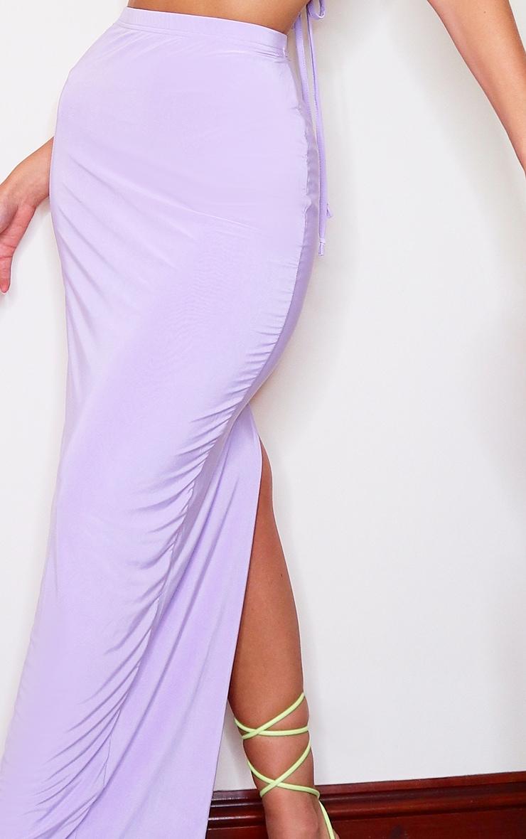Jupe longue slinky lilas fendue à l'arrière 5