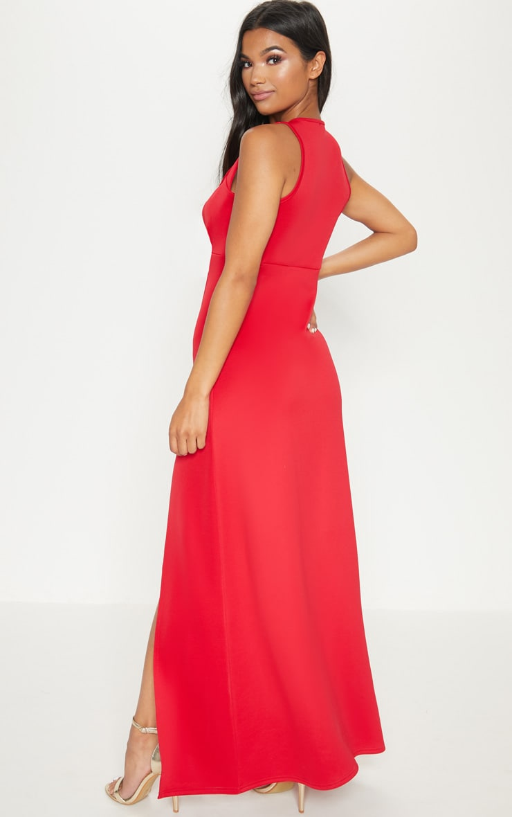 Red Pointy Bust Detail Extreme Split Maxi Dress 2