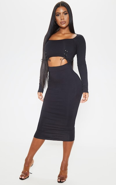 Black Long Sleeve Lace Up Detail Cut Out Midi Dress