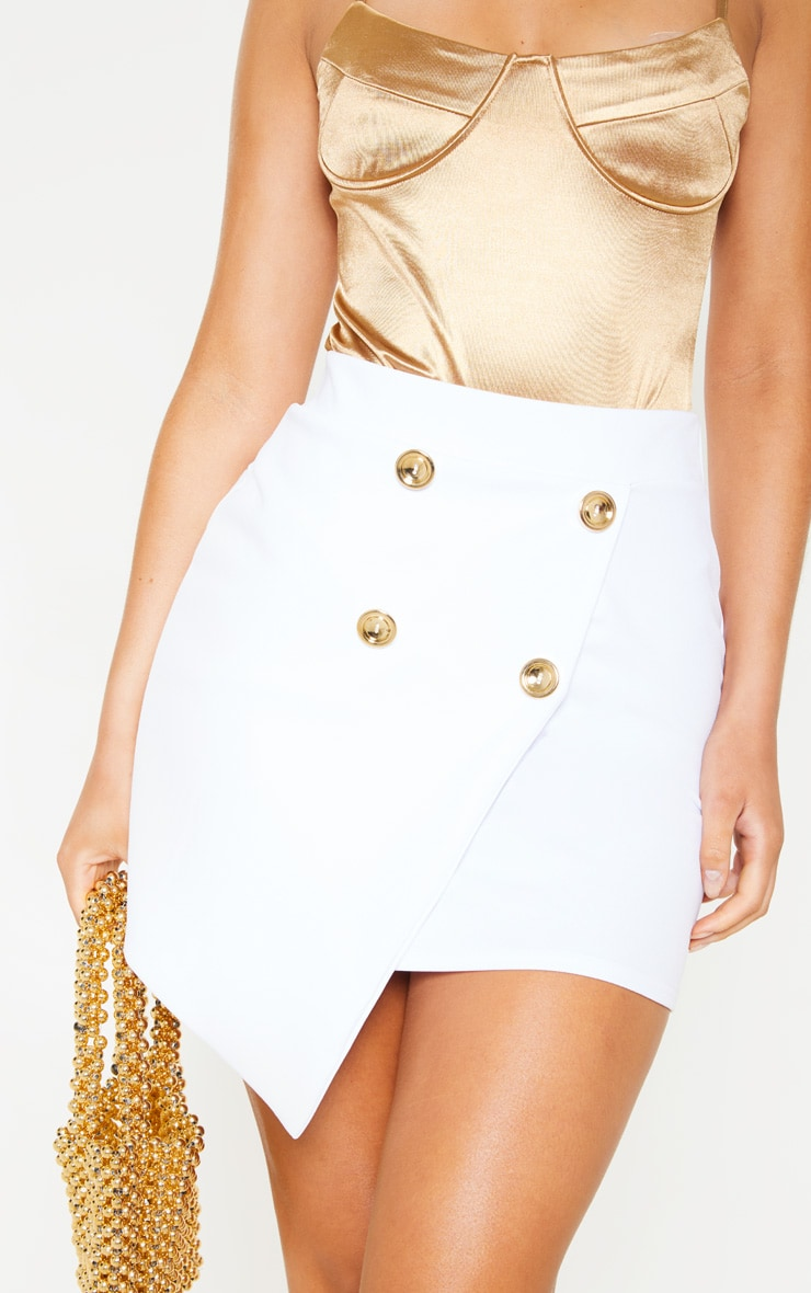 White Gold Button Wrap Over Mini Skirt  6
