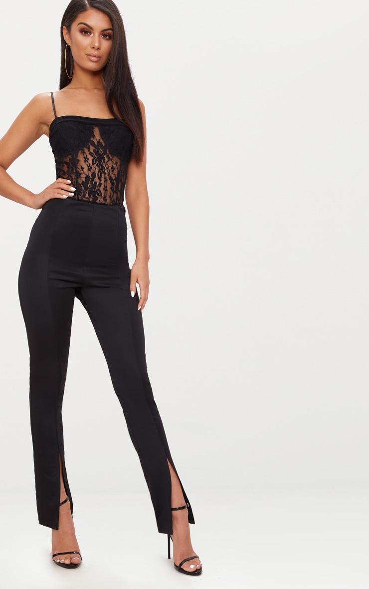 Black Lace Square Neck Thong Bodysuit  5
