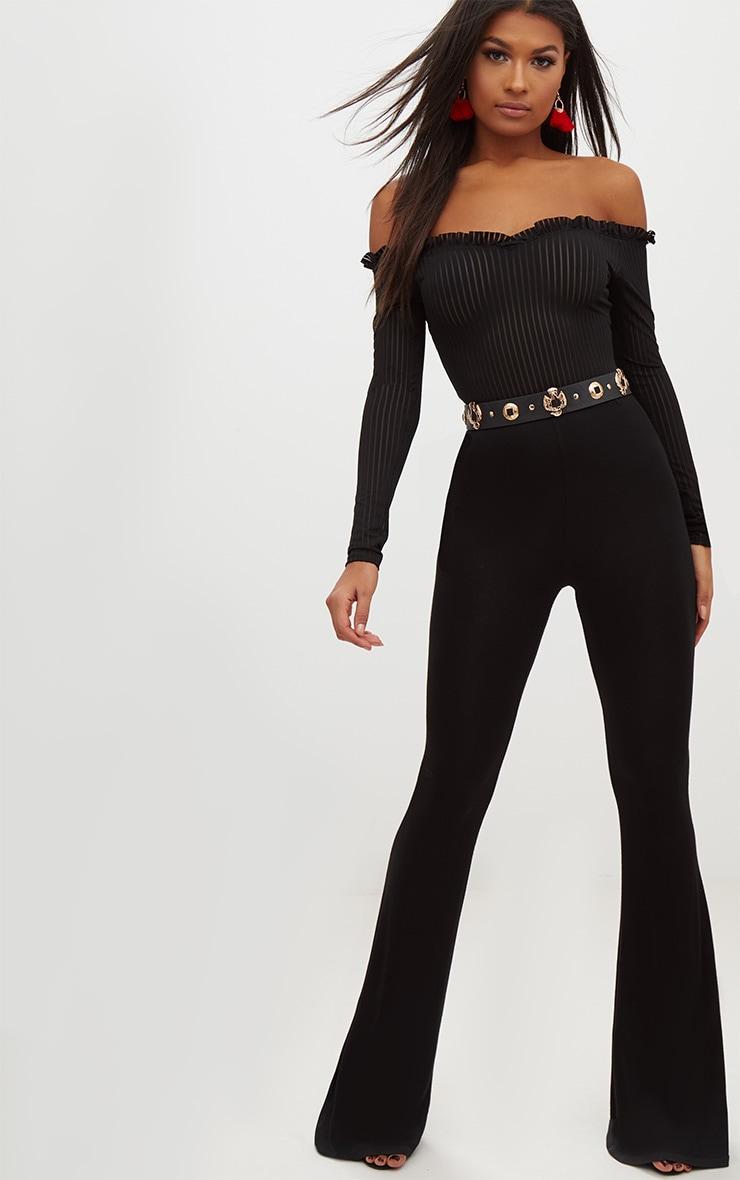 Black Mesh Stripe Bardot Long Sleeve Thong Bodysuit 5