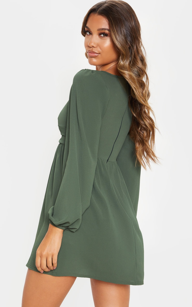Khaki Twist Front Long Sleeve Square Neck Smock Dress 2