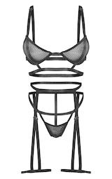 Black Fishnet Harness Detail 3 Piece Lingerie Set 5