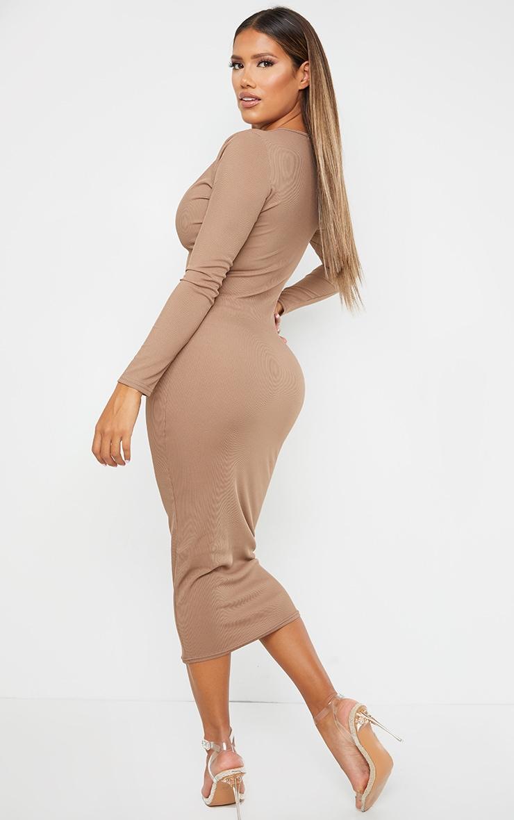 Shape Mocha Ribbed Button Front Long Sleeve Midaxi Dress 2