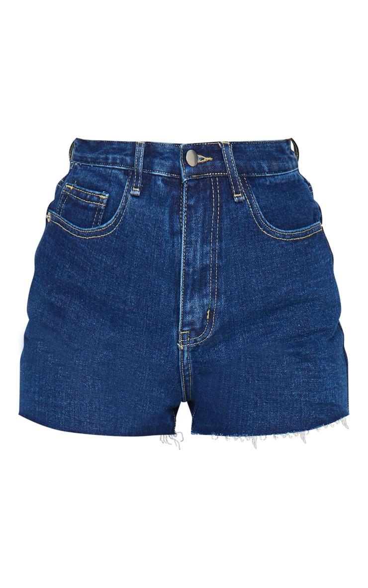 PRETTYLITTLETHING Dark Blue Wash Raw Hem Hot Pants 6