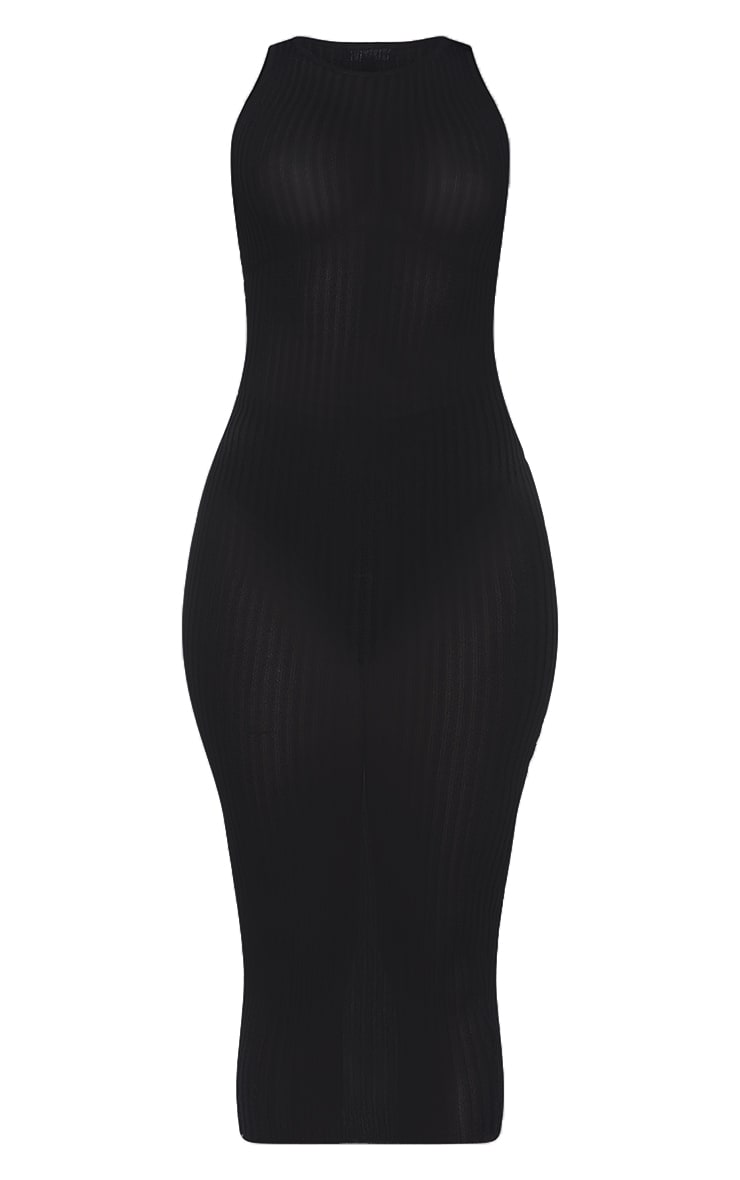 Black  Sheer Knit Underbust Detail Midi Dress 5