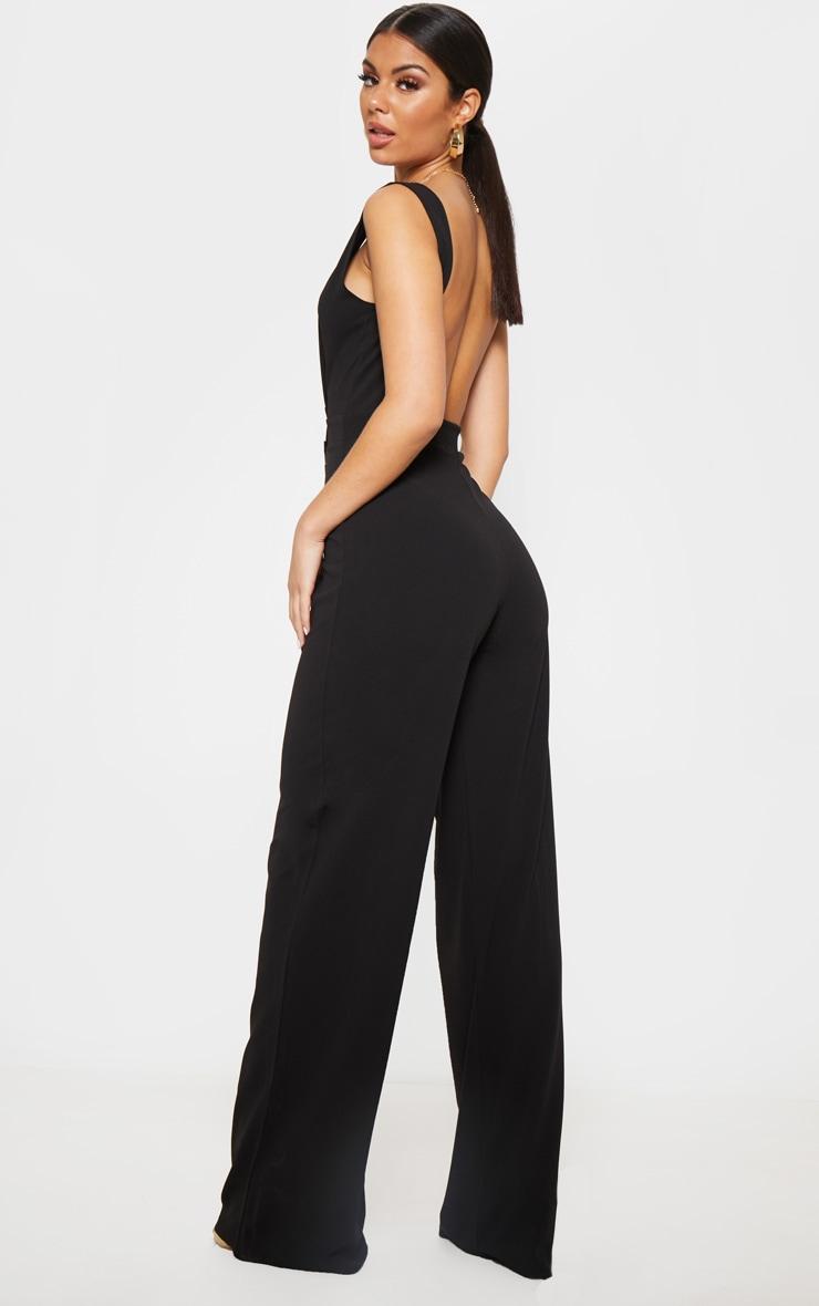 Black Plunge Backless Wide Leg Jumpsuit 2