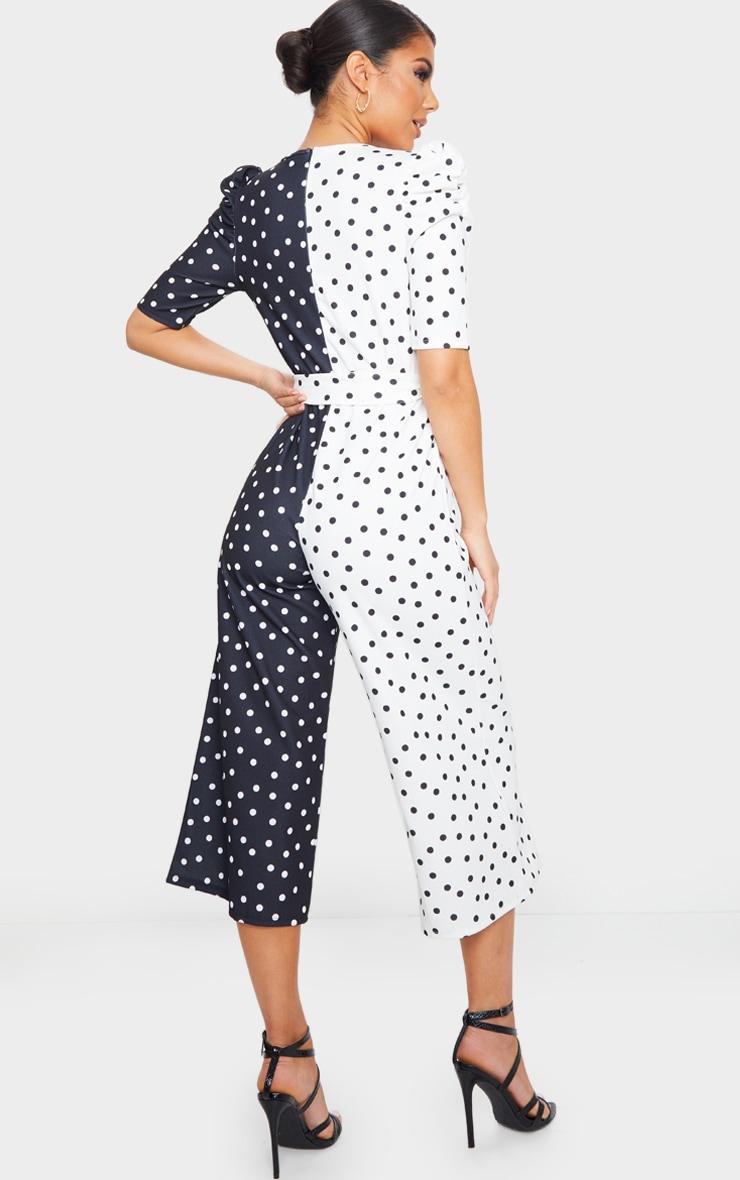 Monochrome Polka Dot Puff Sleeve Culotte Jumpsuit 2