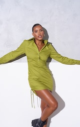 RENEW Olive Ruched Side Fitted Shirt Dress 1