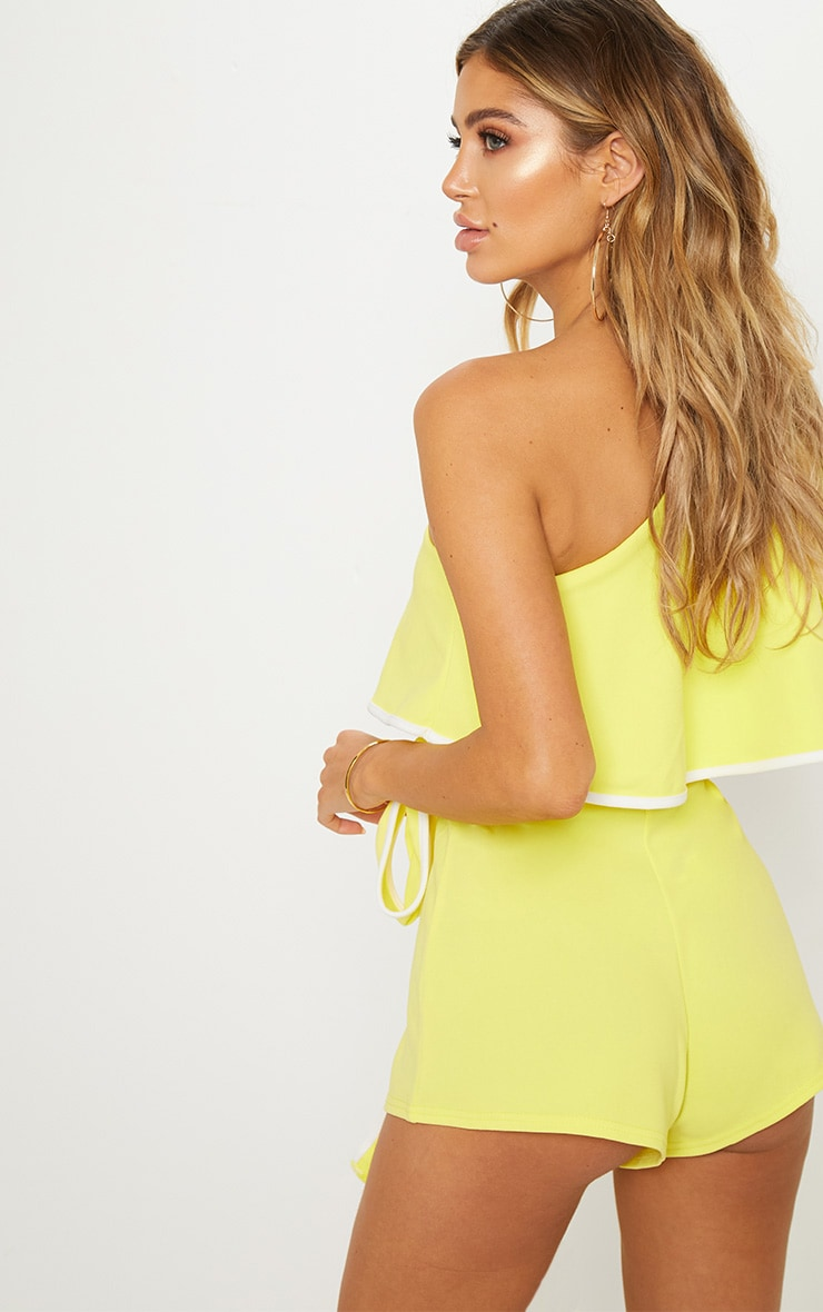 Yellow Contrast One Shoulder Romper 2