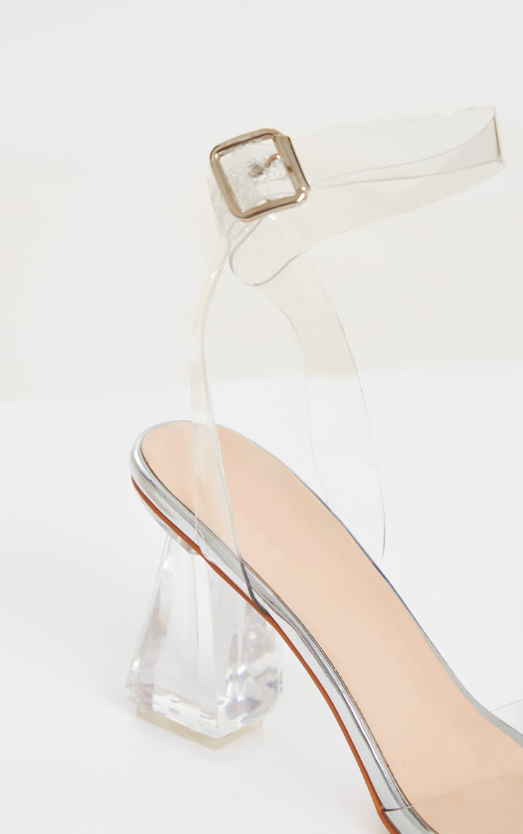 Silver Clear Ankle Strap Block Cone Heeled Sandals 4