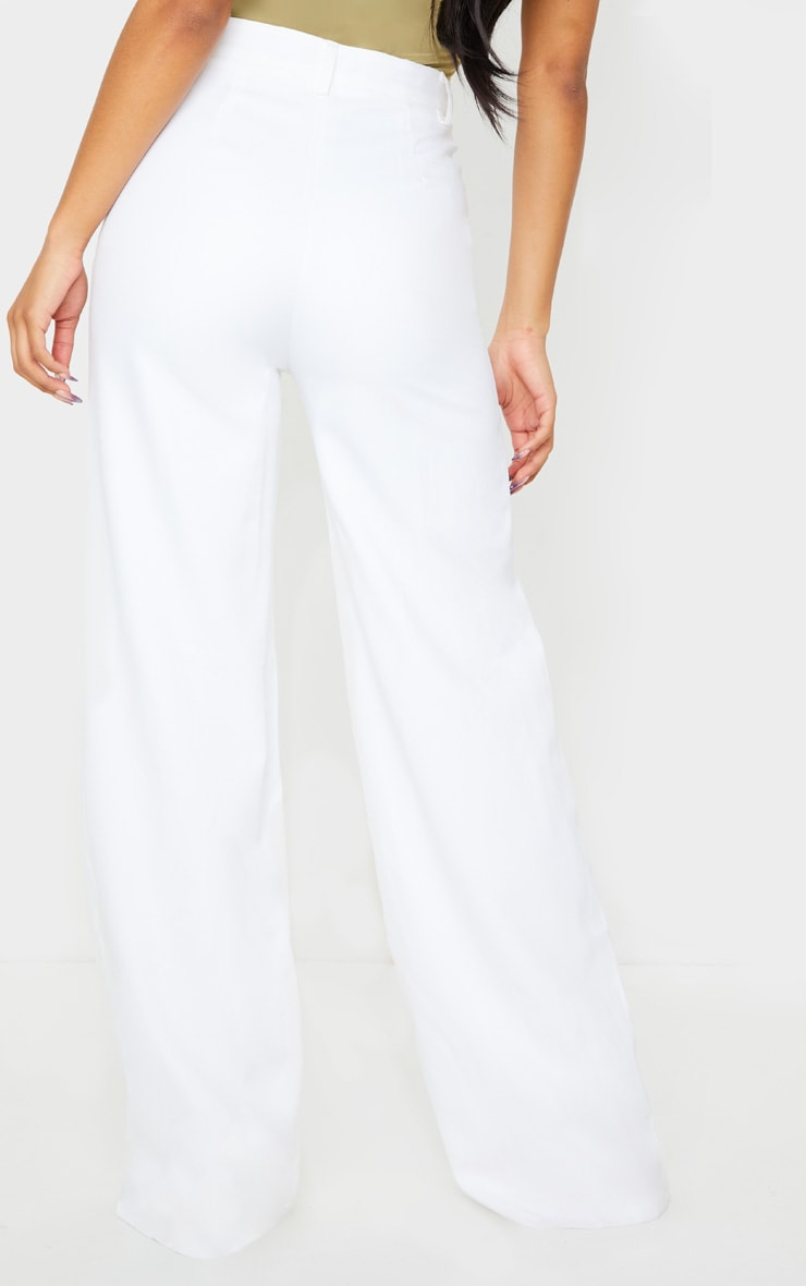 Reemah Cream Wide Leg Crepe Trousers 3