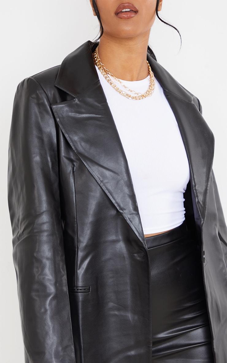 Tall Black Faux Leather Blazer 4