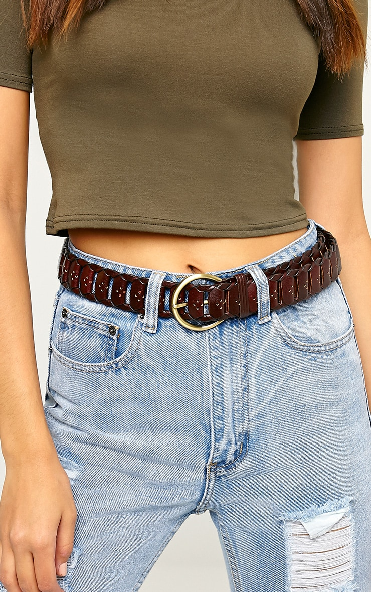 Renata Oxblood Leather Link Belt 4