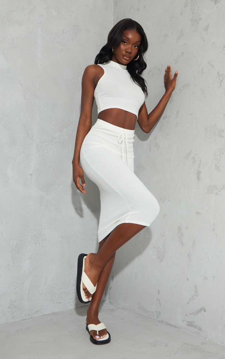 Tall Cream High Waisted Brushed Midi Skirt 1