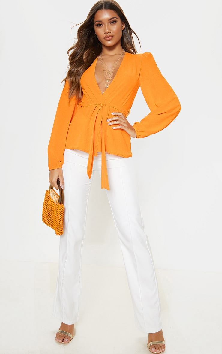 Orange Crepe Waist Belt Tie Long Sleeve Blouse 4