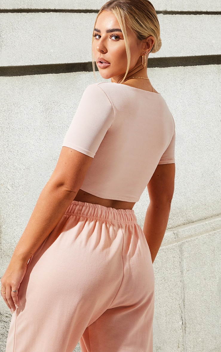 Baby Pink Slinky Ring Detail Crop Top 2