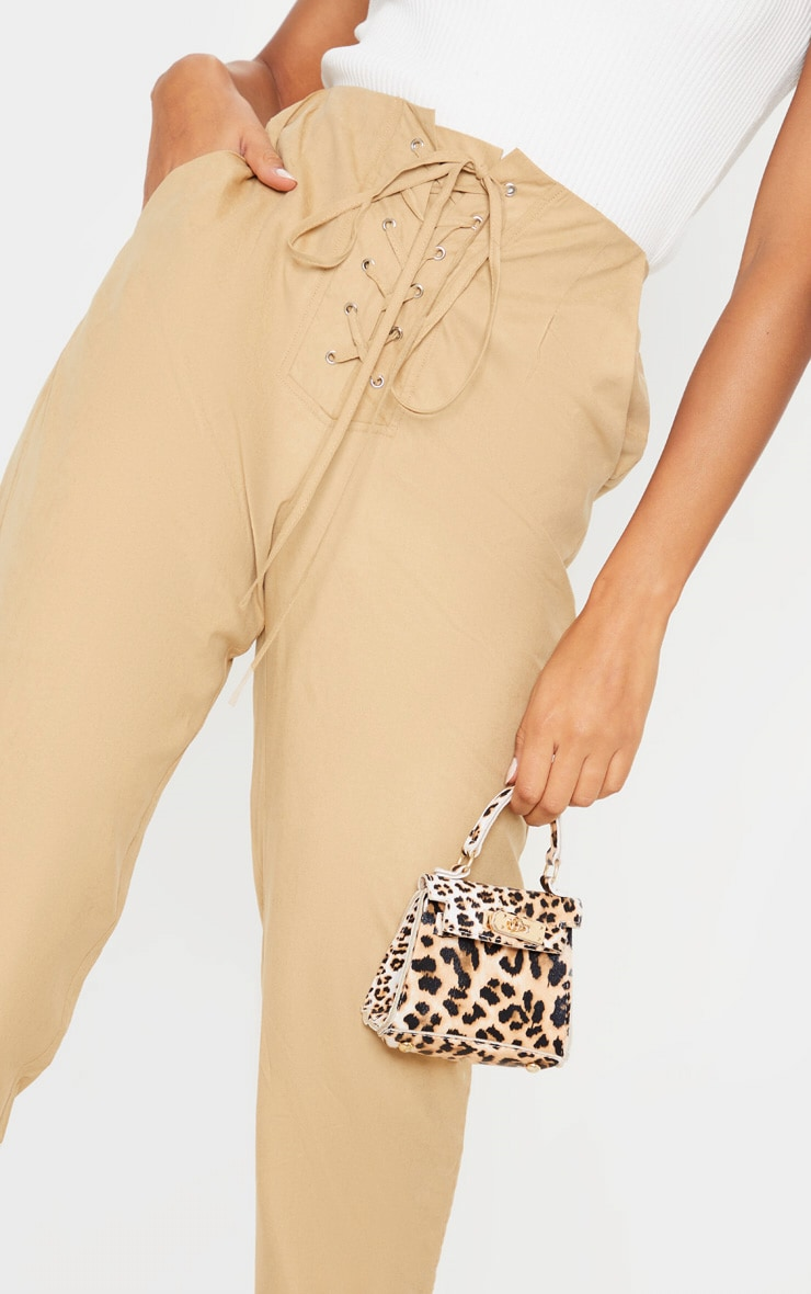 Stone Faux Suede Lace Up Joggers  4