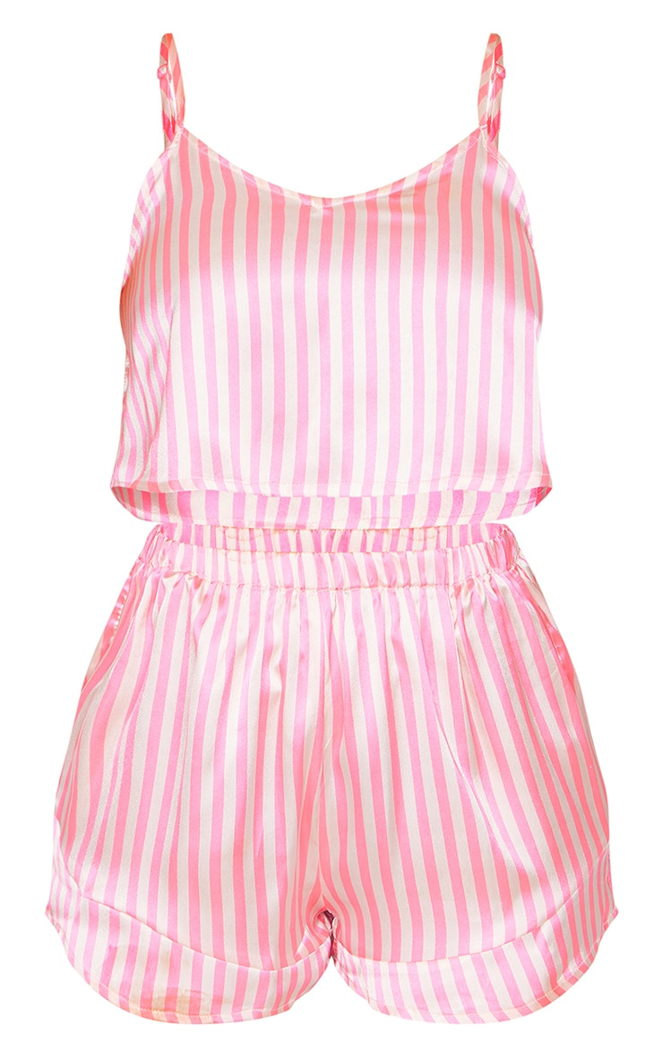 Pink Stripe Satin Cami Short PJ Set 5