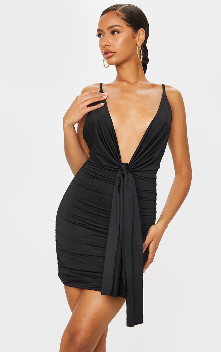 Black Slinky Cowl Drape Ruched Bodycon Dress 1